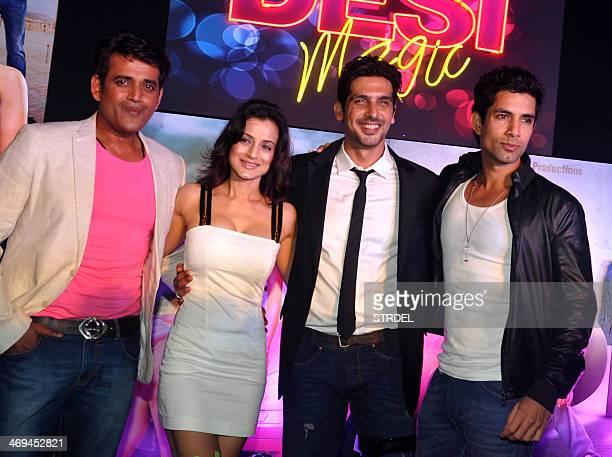 Indian Bollywood actors Ravi Kishan Ameesha Patel Zayed Khan and Sahil Shroff pose during a promotional event for the upcoming Hindi film Desi Magic...