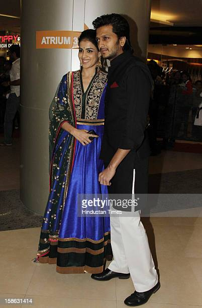 Indian bollywood actors Riteish Deshmukh and his wife Genelia D'Souza attending 'Dabangg 2' premiere at PVR Pheonix market city mall kurla on...