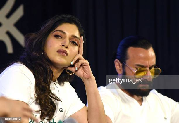Indian Bollywood actors Saif Ali Khan and Bhumi Pednekar take part in a panel to encourage voting in Mumbai on April 23 as the mammoth Indian...