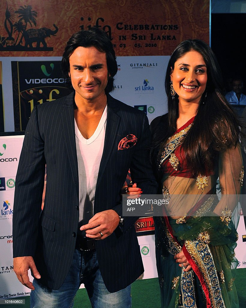 Indian Bollywood actors Saif Ali Khan and Kareena Kapoor arrive at the International Indian Film Academy (IIFA) awards in Colombo on June 5, 2010. Bollywood actors arrived in Sri Lanka to attend the three-day International Indian Film Academy (IIFA) awards and surrounding events that begun in Colombo on June 3. AFP PHOTO/ Punit PARANJPE