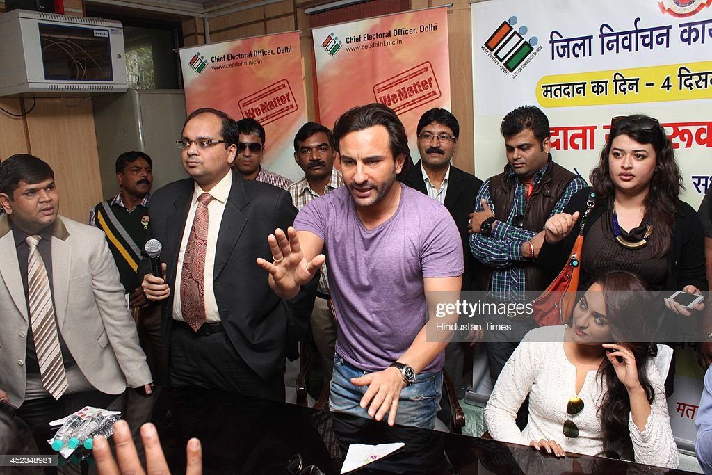 Indian Bollywood actors Saif Ali Khan and Sonakshi Sinha during a bike rally on November 27 2013 in New Delhi India Saif Ali Khan was scheduled to...
