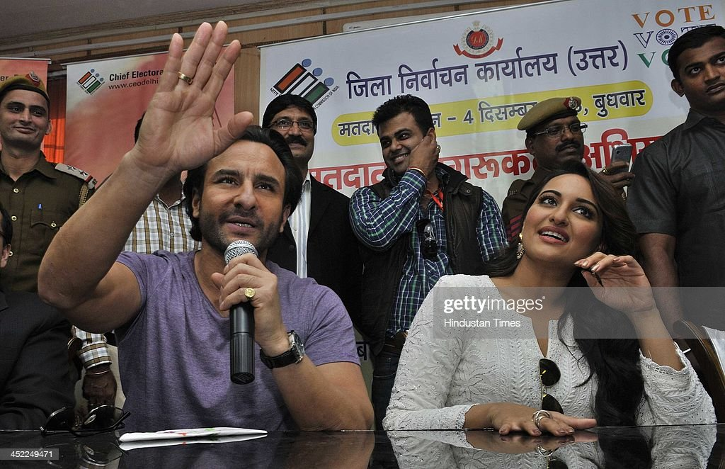 Indian Bollywood actors Saif Ali Khan and Sonakshi Sinha urge people to vote in the forthcoming 2013 Delhi Legislative Assembly Election at the DC...