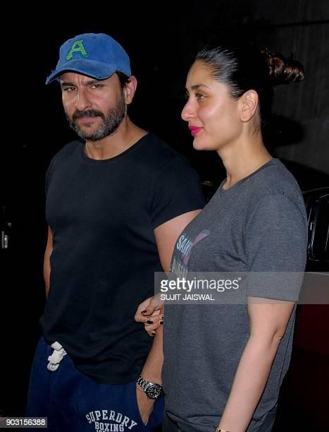 Indian Bollywood actors Saif Ali Khan with his wife Kareena Kapoor attend the special screening of upcoming comedy Hindi film 'Kaalakaandi' in Mumbai...