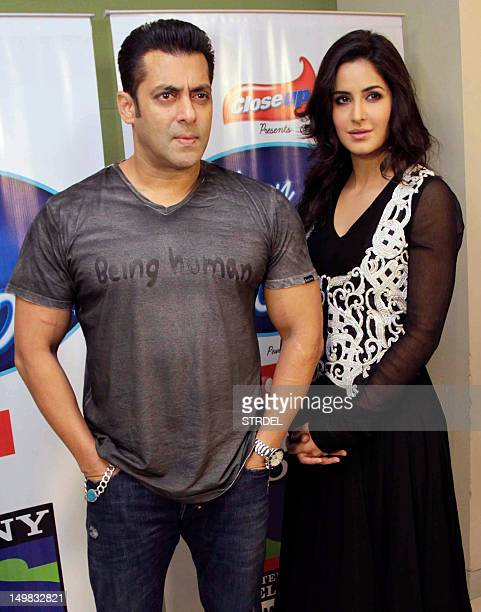 Indian Bollywood actors Salman Khan and Katrina Kaif pose for a promotional event for the forthcoming Hindi film Ek Tha Tiger in Mumbai on August 4...