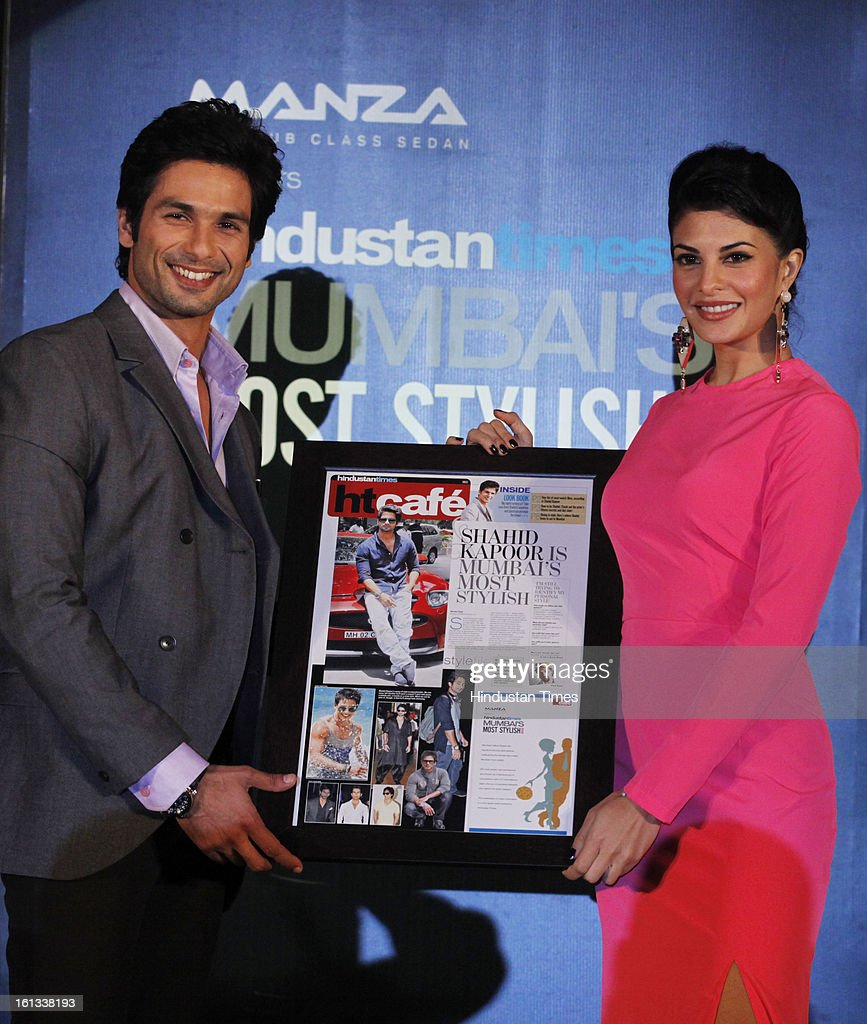 Indian bollywood actors Shahid Kapoor and Jacqueline Fernandez during the HT Cafe Style Award function at ITC Grand Central Parel on February 7 2013..