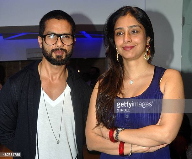 Indian Bollywood actors Shahid Kapoor and Tabbu pose for a photograph during a screening of Sri Lankan film Inam written directed and produced by...