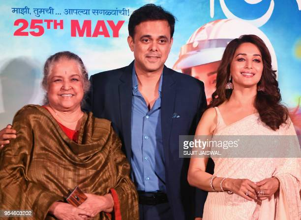Indian Bollywood actors Shobha Khote Sumeet Raghavan and Madhuri Dixit pose for photograph during a promotional event for the forthcoming Marathi...