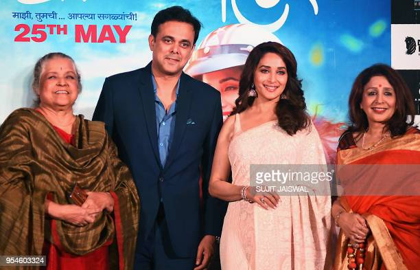 Indian Bollywood actors Shobha Khote Sumeet Raghavan Madhuri Dixit and Vandana Gupte pose for photograph during a promotional event for the...