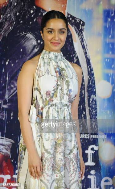 Indian Bollywood actors Shraddha Kapoor attends the trailer launch of the Hindi film 'Half Girlfriend' in Mumbai on April 10 2017 PHOTO /