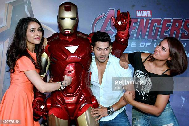 Indian Bollywood actors Shraddha Kapoor Varun Dhawan and Sonakshi Sinha pose for a photograph during a screening of Hollywood film 'Avengers Age of...