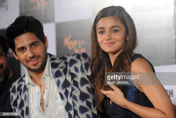 Indian Bollywood actors Sidharth Malhotra and Alia Bhatt attend the trailer launch of upcoming Hindi film 'Kapoor Sons' in Mumbai on February 10 2016...