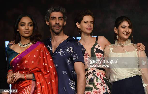 Indian Bollywood actors Sobhita Dhulipala Jim Sarbh Kalki Koechlin and Shivani Raghuvanshi attend a press conference for the launch of the Amazon...