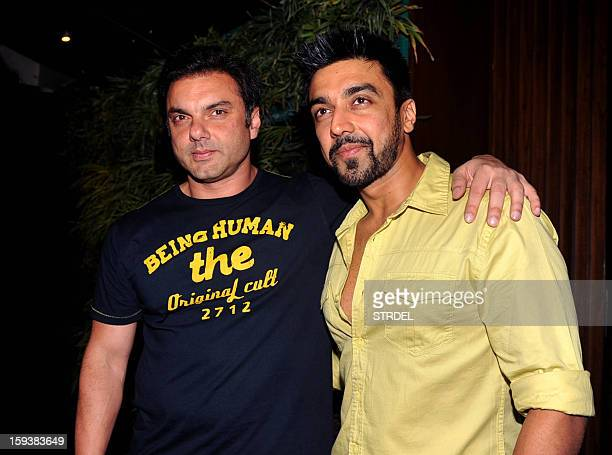 Indian Bollywood actors Sohail Khan and Aashish Chaudhary during the inauguration of a furniture showroom by actors Sunil and Mana Shetty in Mumbai...