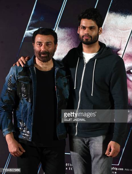 Indian Bollywood actors Sunny Deol and Karan Kapadia attend the trailer launch of upcoming Hindi film Blank in Mumbai on April 4 2019