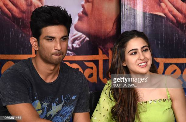 Indian Bollywood actors Sushant Singh Rajput and Sara Ali Khan attend a promotional event for their upcoming romantic drama Hindi film 'Kedarnath' in...