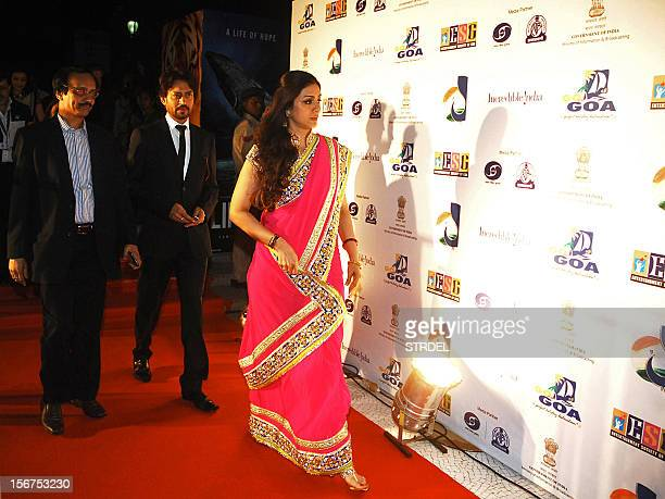 Indian Bollywood actors Tabu and Irrfan Khan cast in the film 'Life of Pi' walk on the red carpet as they arrive for the inauguration of the 43rd...