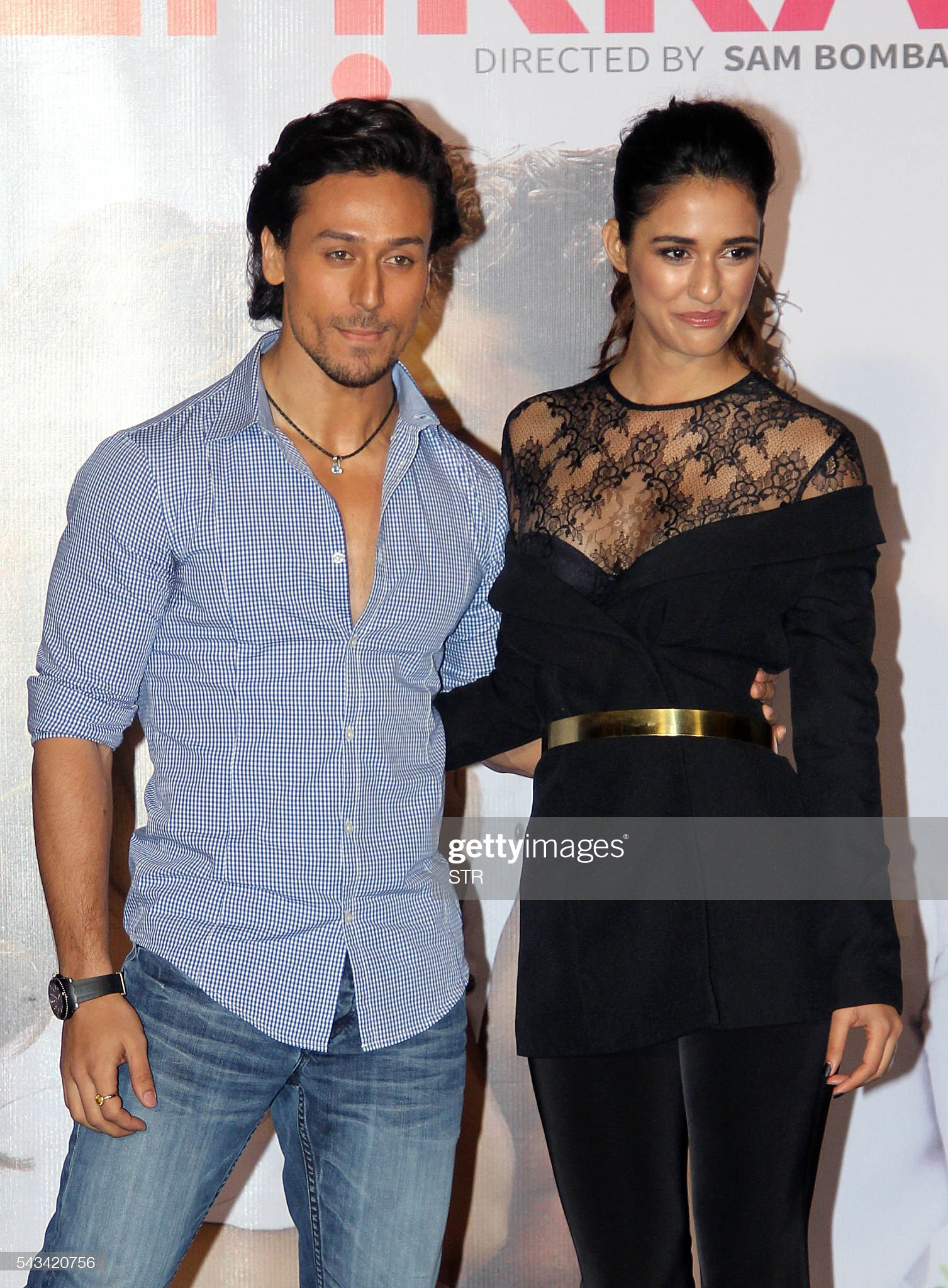 indian-bollywood-actors-tiger-shroff-and-disha-patani-pose-during-the-picture-id543420756
