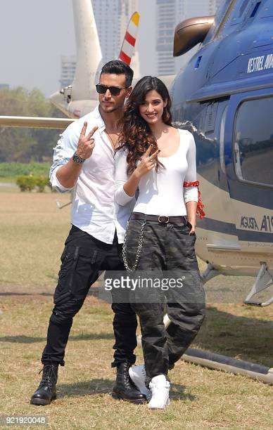 Indian Bollywood actors Tiger Shroff and Disha Patani take part in a promotional event with a helicopter for their upcoming action Hindi film Baaghi...