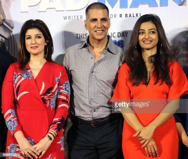 Indian Bollywood actors Twinkle Khanna Akshay Kumar and Radhika Apte pose for a photograph during a promotional event for the forthcoming Hindi film...