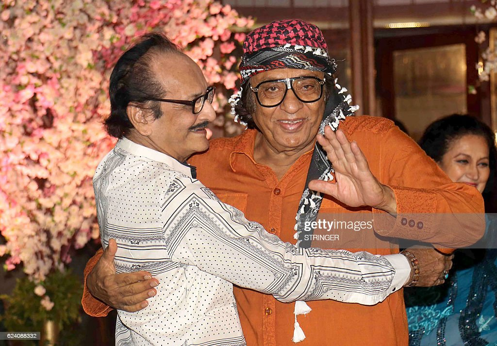Indian Bollywood Actors Vishwjeet L And Ranjeet Attend The Wedding Reception Of Shaina Nath