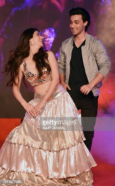 Indian Bollywood actors Warina Hussain and Aayush Sharma attend the promotion of the upcoming musical romantic drama Hindi film 'Loveyatri' in Mumbai...