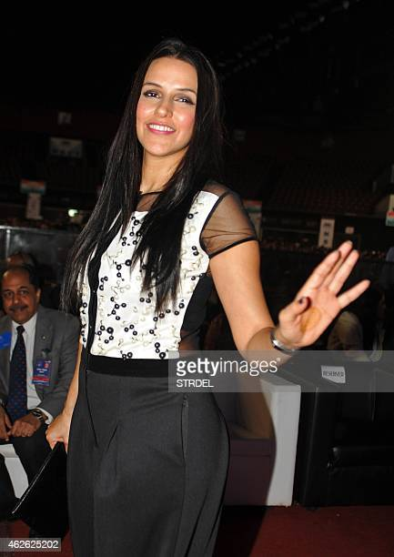 Indian Bollywood actres Neha Dhupia attend an event organised by the Rotary Club of Bombay in Mumbai on February 1 2015 AFP PHOTO/STR