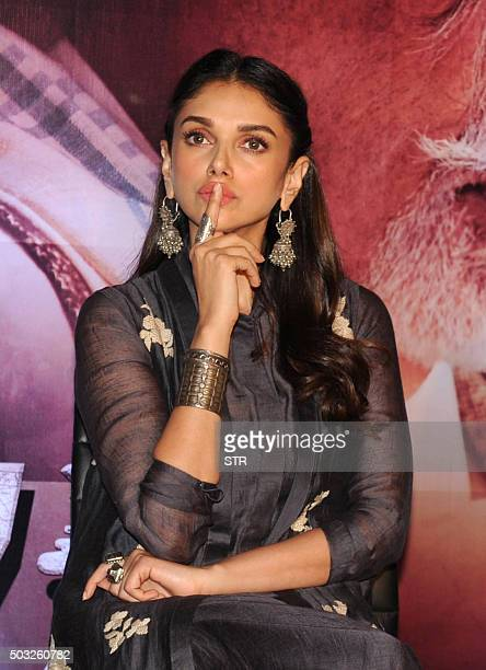 Indian Bollywood actress Aditi Rao Hydari attends the press conference of the upcoming Hindi film Wazir directed by Bejoy Nambiar written and...