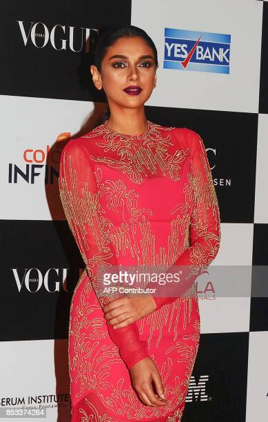 Indian Bollywood actress Aditi Rao Hydari poses for a photo during the 10th edition of the 'Vogue Women of the Year Awards' event in Mumbai on...