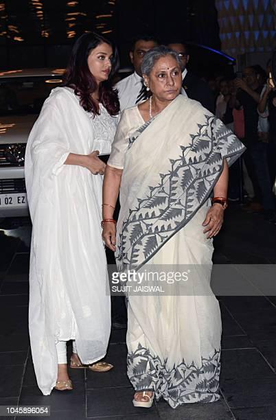 Indian Bollywood actress Aishwarya Rai Bachchan and Jaya Bachchan attend a prayer meet for the late Krishna Raj Kapoor wife of late actor Raj Kapoor...
