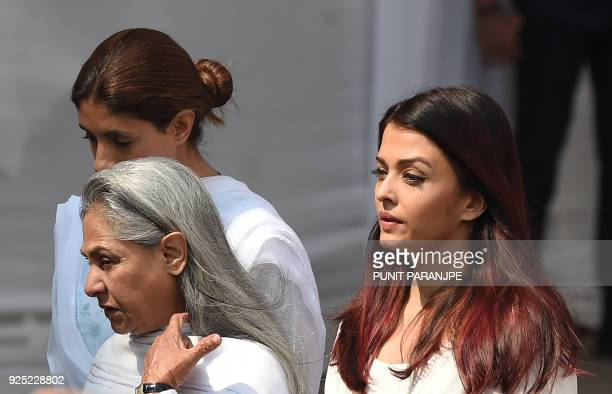 Indian Bollywood actress Aishwarya Rai Bachchan and Jaya Bachchan leave after paying their last respects to the late actress Sridevi Kapoor ahead of...
