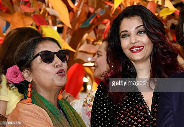 Indian Bollywood actress Aishwarya Rai Bachchan and Shabana Azmi attend the opening ceremony of the 31st edition of the Women Entrepreneurs...
