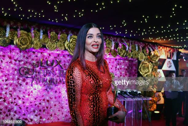 Indian Bollywood actress Aishwarya Rai Bachchan attends the Lux Golden Rose Awards ceremony in Mumbai on November 18 2018