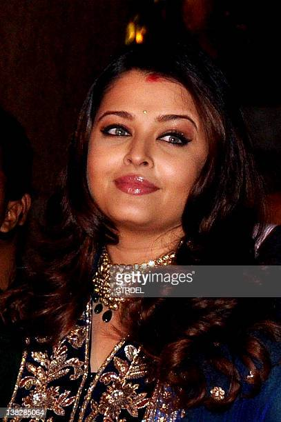 Indian Bollywood actress Aishwarya Rai Bachchan attends the wedding reception of actors Ritesh Deshmukh and Genelia D'Souza in Mumbai on February 4...