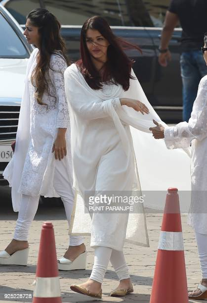 Indian Bollywood actress Aishwarya Rai Bachchan leaves after paying her last respects to the late actress Sridevi Kapoor ahead of her funeral in...