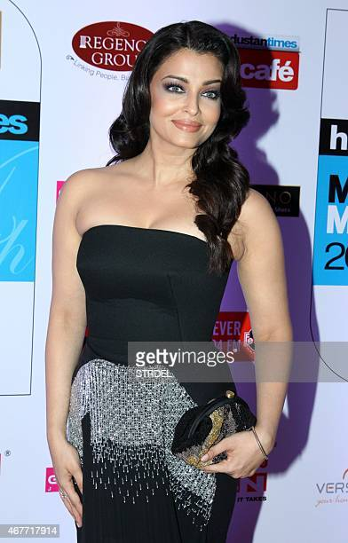 Indian Bollywood actress Aishwarya Rai Bachchan poses as she attends the HT Mumbai's Most Stylish Awards 2015 ceremony in Mumbai late March 26 2015...
