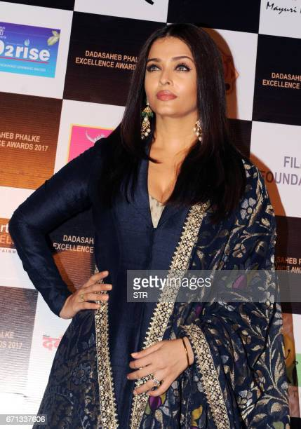 Indian Bollywood actress Aishwarya Rai Bachchan poses as she attends the Dadasaheb Phalke Excellence Awards Ceremony 2017 in Mumbai late April 22...