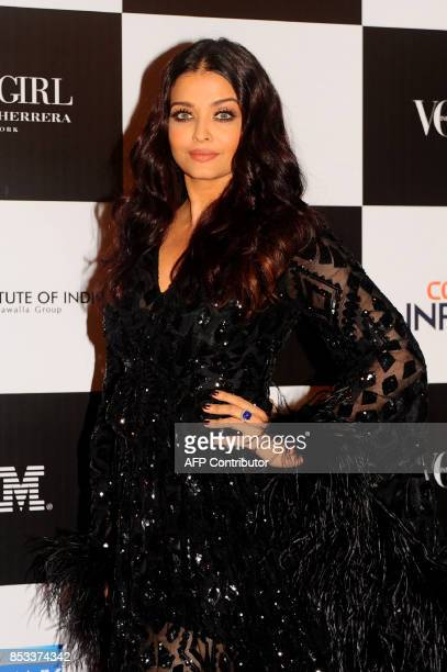 Indian Bollywood actress Aishwarya Rai Bachchan poses for a photo during the 10th edition of the 'Vogue Women of the Year Awards' event in Mumbai on...