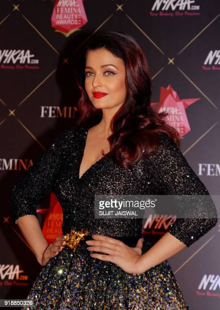 Indian Bollywood actress Aishwarya Rai Bachchan poses for a picture during the 'Femina Beauty Awards 2018' in Mumbai late on February 15 2018 / AFP...