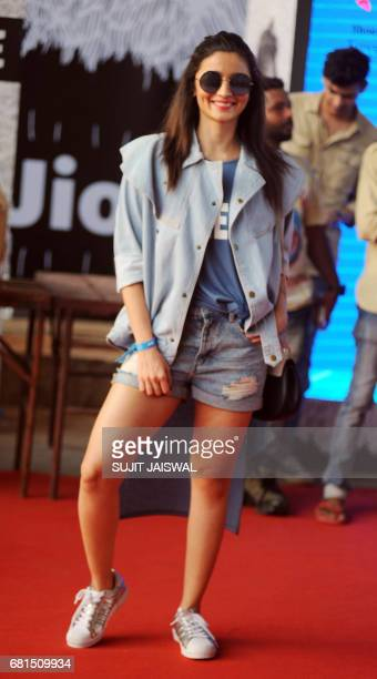 Indian Bollywood actress Alia Bhatt arrives to attend a concert performance by Canada's Justin Bieber at The DY Patil Stadium in Navi Mumbai on May...