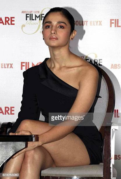 Indian Bollywood actress Alia Bhatt attends the launch of a Filmfare magazine cover in Mumbai on November 14 2016 / AFP /