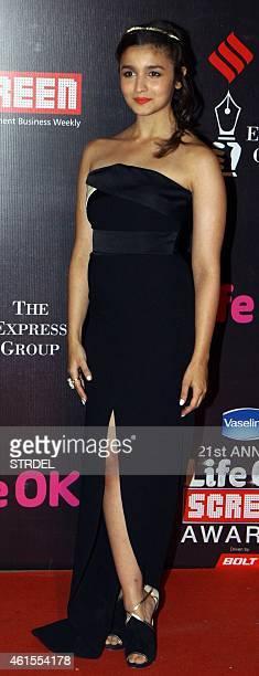 Indian Bollywood actress Alia Bhatt attends the 'Life OK Screen Awards 2015' in Mumbai on January 14 2015 AFP PHOTO/STR