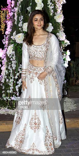 Indian Bollywood actress Alia Bhatt attends the marriage Sangeet ceremony of Bollywood film director Punit Malhotra and Riddhi Malhotra the sister of...