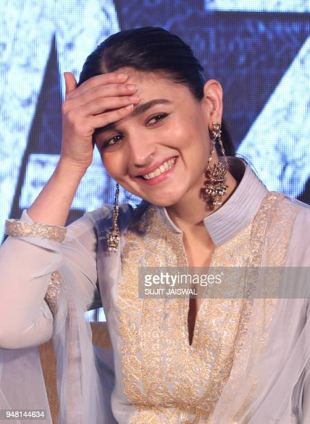 Indian Bollywood actress Alia Bhatt takes part in a promotional event for the forthcoming Hindi film 'Raazi' directed by Meghna Gulzar in Mumbai on...