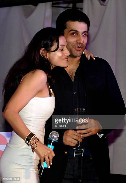 Indian Bollywood actress Ameesha Patel and director Mehul Atha attend a promotional event for the upcoming Hindi film Desi Magic in Mumbai on...