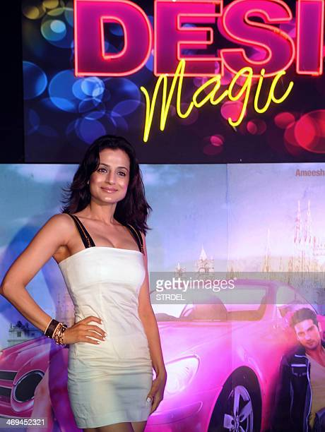 Indian Bollywood actress Ameesha Patel poses during a promotional event for the upcoming Hindi film Desi Magic in Mumbai on February 14 2014 AFP...