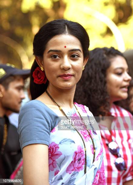 Indian Bollywood actress Amrita Rao poses during the promotion of the upcoming bilingual biographical film 'Thackeray' in Mumbai on January 10 2019