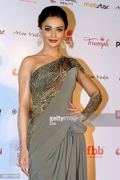 Indian Bollywood actress Amy Jackson poses as she attends Femina Miss India Grand Finale 2016 in Mumbai late April 9 2016 / AFP / STR