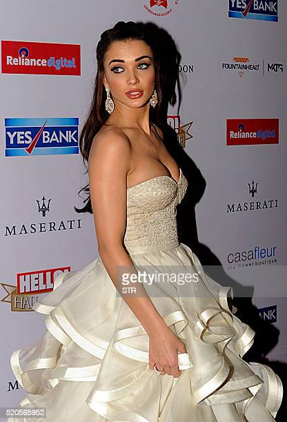Indian Bollywood actress Amy Jackson poses as she attends the Hello Hall of Fame Awards 2016 in Mumbai late April 11 2016 / AFP / STR