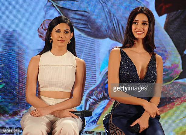 Indian Bollywood actress Amyra Dastur and Disha Patani attend a promotional event for the upcoming film 'Kung Fu Yoga' in Mumbai on January 23 2017 /...
