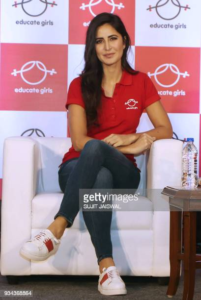 Indian Bollywood actress and ambassador for the Educate Girls NGO Katrina Kaif looks on during an event in Mumbai on March 19 2018 / AFP PHOTO /...